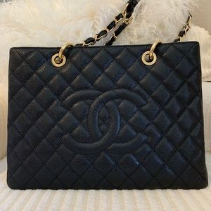 Chanel GST black caviar gold hardware